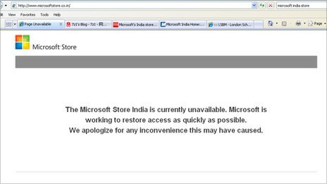 Screen grab of Microsoft India online store - 13 February 2012