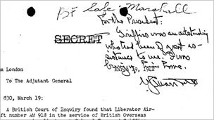 Handwritten note from Gen George Marshall