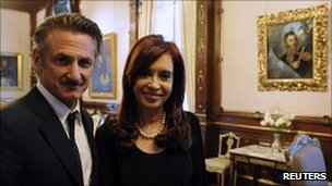 Hollywood actor Sean Penn and Argentine President Cristina Fernandez
