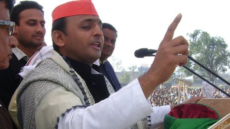 Akhilesh Yadav addresses a rally in Ambedkar Nagar