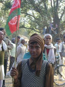 Samajwadi Party supporters at a rally
