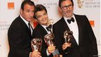 French film producer Thomas Langmann (centre), actor Jean Dujardin (left) and director and screenwriter Michel Hazanavicius (right)