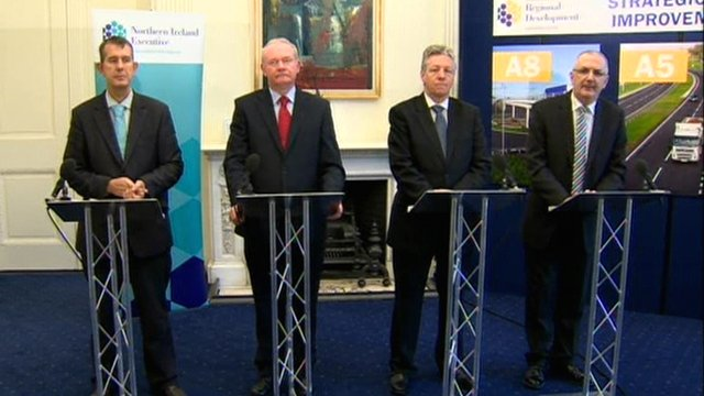 Edwin Poots, Martin McGuinness, Peter Robinson and Danny Kennedy