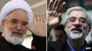 Mehdi Karroubi and Mir Hossein Mousavi (file)