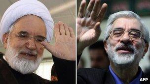 Mehdi Karroubi and Mir Hossein Mousavi (file)