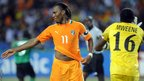 Ivory Coast captain Didier Drogba points at the ground after missing a penalty for the Elephants, in a key moment in the final in Libreville. The two sides would finish level on 0-0 after extra-time and the final would be decided by spot-kicks.