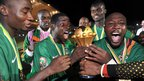 Zambia's players celebrate their first continental triumph, after being presented with the Africa Cup of Nations trophy. The Zambians were 40-1 outsiders at the start of the tournament and become the first southern African country to win it since South Africa in 1996.
