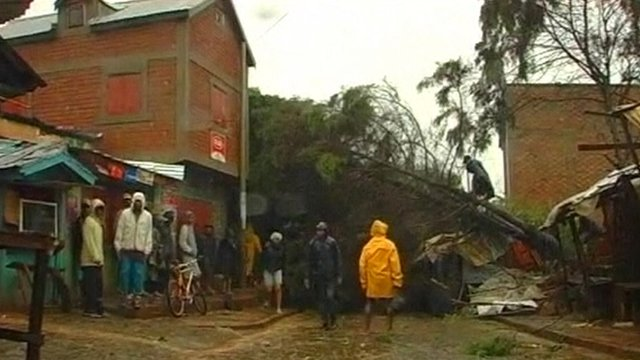 People gathered around a tree that has fallen onto a building in Madagascar