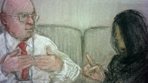 Sketches of the deaf woman giving evidence in court through a signer