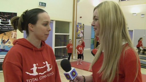 Beth Tweddle chatting to Hayley