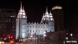 LDS' Mormon Temple in downtown Salt Lake City, Utah 27 January 2012