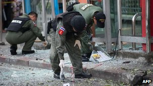 The three explosions took place in Bangkok on Tuesday afternoon