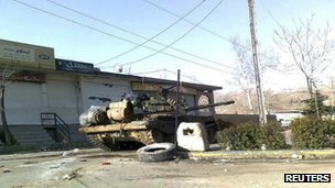Syrian army tank in Zabadani, near Damascus (14 February 2012)
