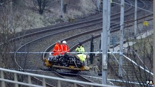 The scene of a rail accident. Photo: Owen Humphreys, PA