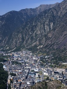 View of Andorra La Vella, the capital of the the Principality of Andorra