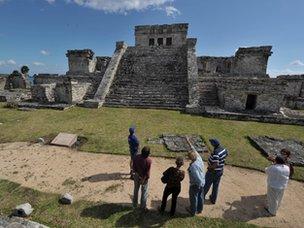 Tourist in Mayan ruins