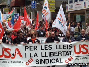 Protesters in Andorra
