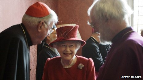 The Queen speaks to the Archbishop of Canterbury Dr Rowan Williams, pictured right, and the Catholic Church's Cardinal Cormac Murphy-O'Connor