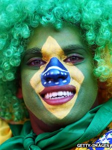 A Brazilian fan at the 2010 Fifa World Cup in South Africa