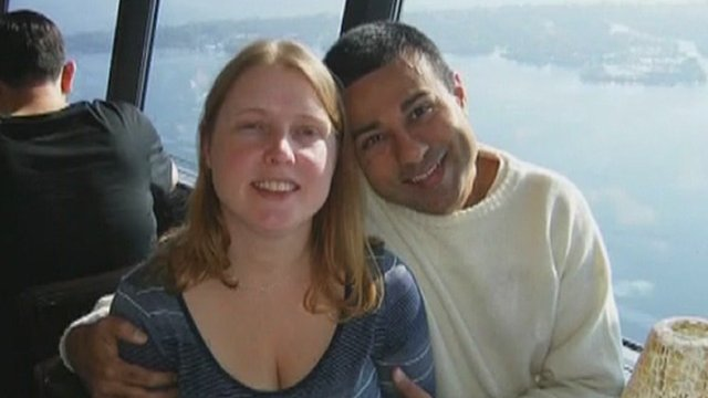 Al Amin Dhalla (right) was convicted of stalking Alison Hewitt (left)