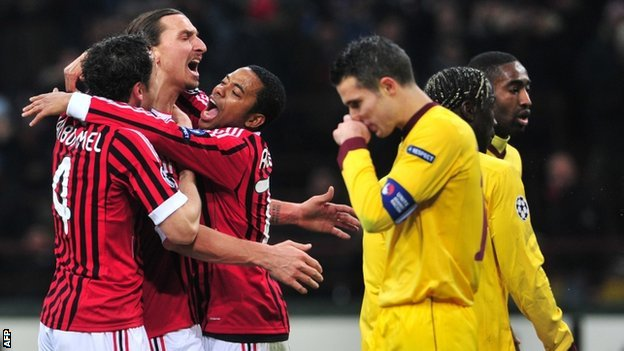 Arsenal fell to a heavy defeat in Milan