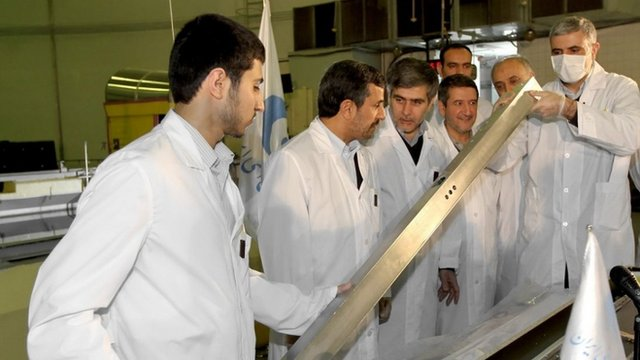 President Mahmoud Ahmadinejad (2nd L) attends the unveiling ceremony of new nuclear projects