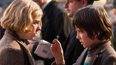 Chloe Grace Moretz and Asa Butterfield in Hugo