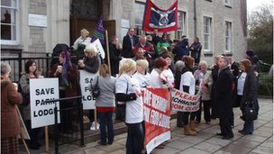 Care home workers outside the Cumbria County Council meeting