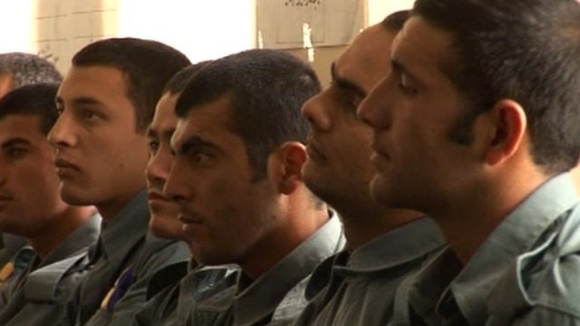 Afghan police in a training session.
