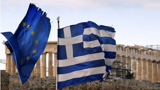 Greek and an EU flag