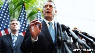 Speaker of the House John Boehner announces a deal to extend the payroll tax cut and unemployment benefits 15 February 2012
