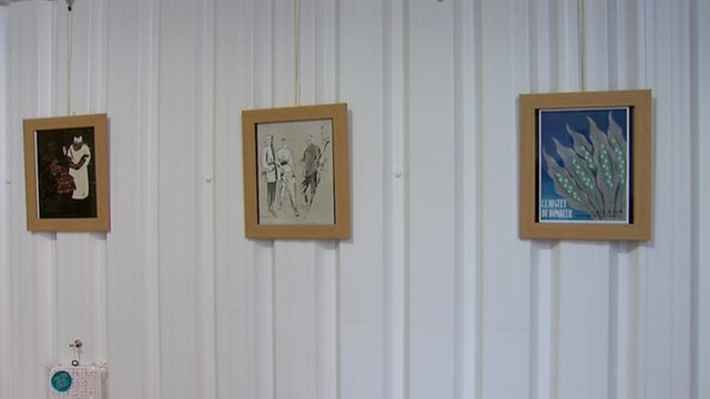 Paintings in a cafe