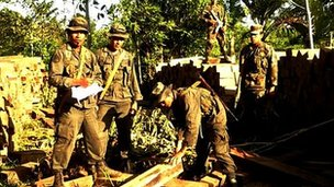 Eco Battalion forces confiscate illegal lumber - Nicaraguan army photo
