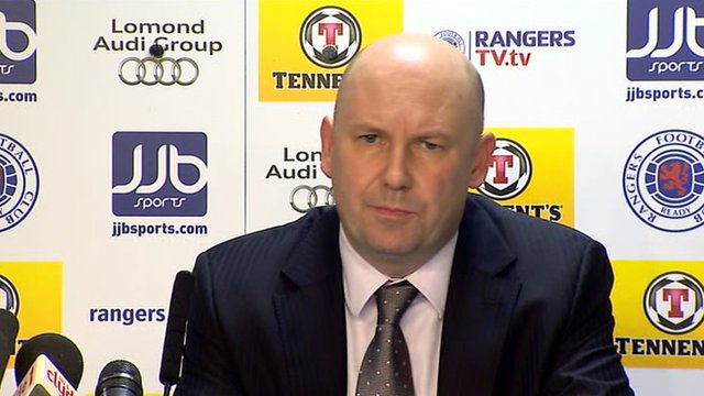 Paul Clark speaks at a press conference in Ibrox