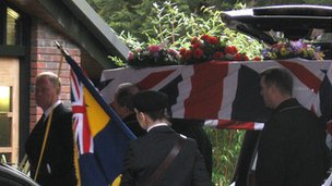 Mrs Green&#039;s coffin draped in a Union flag