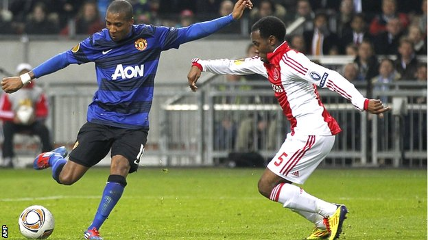 Ashley Young celebrates scoring Manchester United&#039;s first goal against Ajax