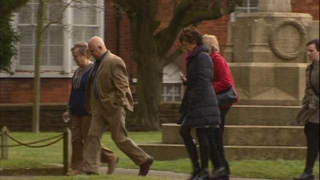 Arrivals at a memorial service for Toby Day, his wife and daughter