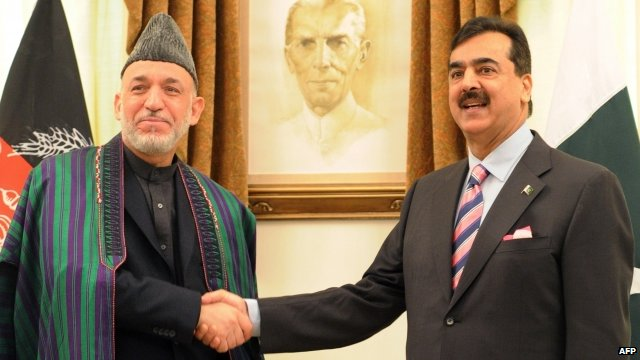 Afghanistan's President Hamid Karzai and Pakistan's Prime Minister Yousuf Raza Gilani