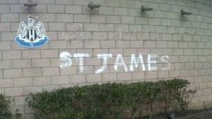 The graffiti at the ground