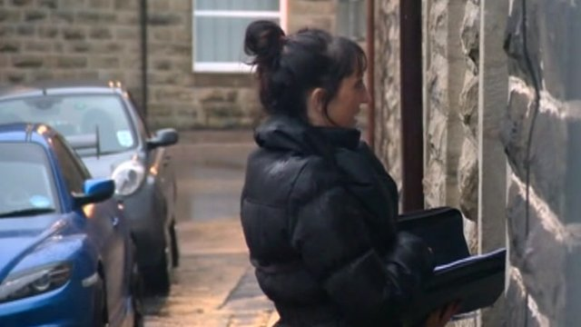 Bailiff arrives at somebody's front door.