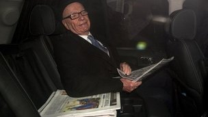 Rupert Murdoch leaving his Mayfair home to head to Wapping on Friday