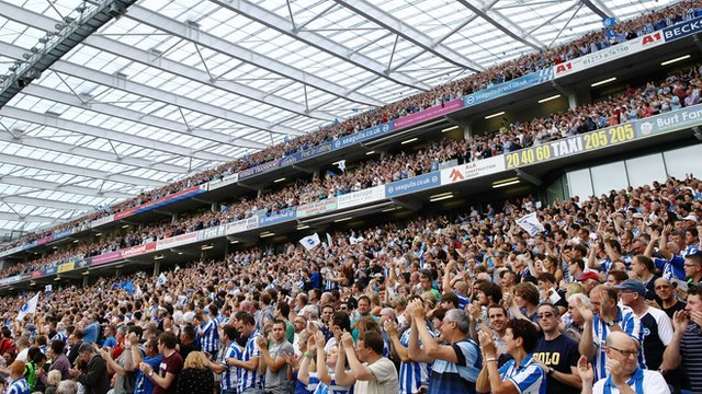 Brighton & Hove Albion fans at the Amex Stadium