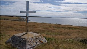Memorial at Teal Inlet in the Falkland Islands