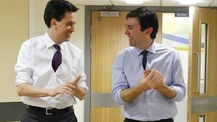 Ed Miliband and Andy Burnham during a hospital visit in Bolton