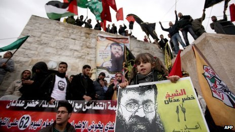Maali, daughter of Palestinian prisoner Khader Adnan, takes part in a demonstration in the West Bank village of Araba in support of her father (17 February 2012)