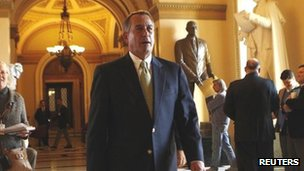 House Speaker John Boehner walks through the US capitol after the payroll tax vote in Washington, DC, 17 February 2012