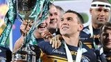Leeds captain Kevin Sinfield lifts the World Club Challenge trophy