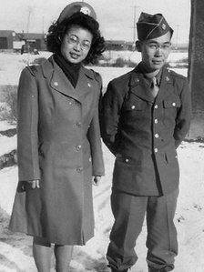Mary Matsuda Gruenewald and her brother Yoneichi in their army uniforms on a visit back to Minidoka Internment Camp in Idaho to visit their parents. Mary Matsuda Gruenewald Collection