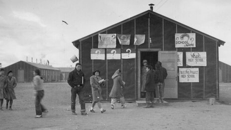 The first High School at Tule Lake internment Camp. Photo courtesy of the US Library of Congress
