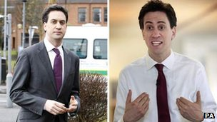 Ed Miliband with and without a jacket